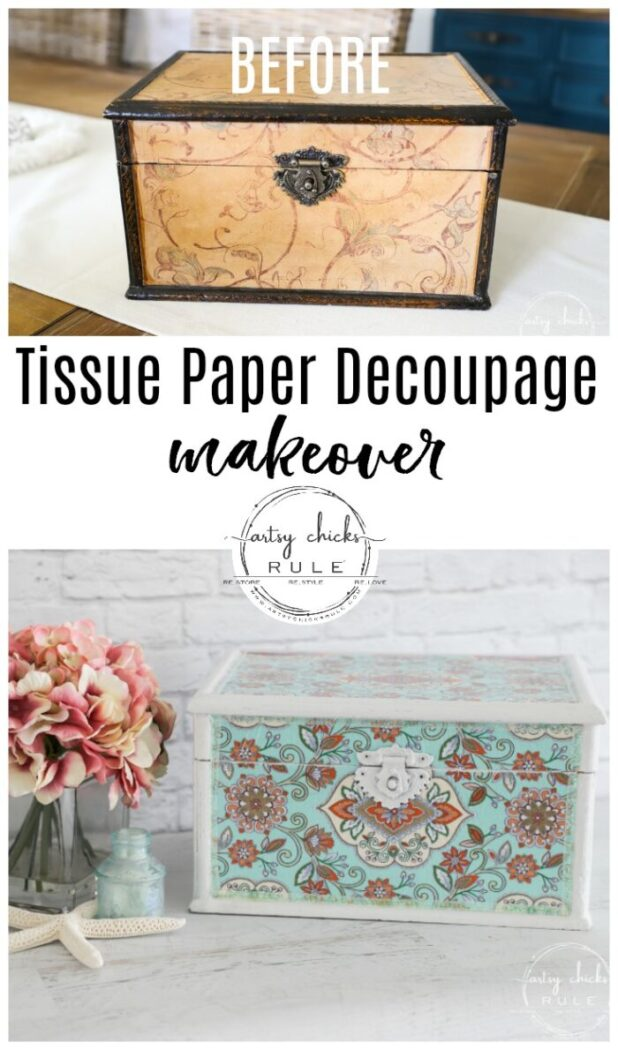 Decoupage with tissue paper is a fun way to change it up! Lots to choose from with so many decorative tissue papers available! artsychicksrule.com #tissuepaper #decoupage #tissuepaperdecoupage