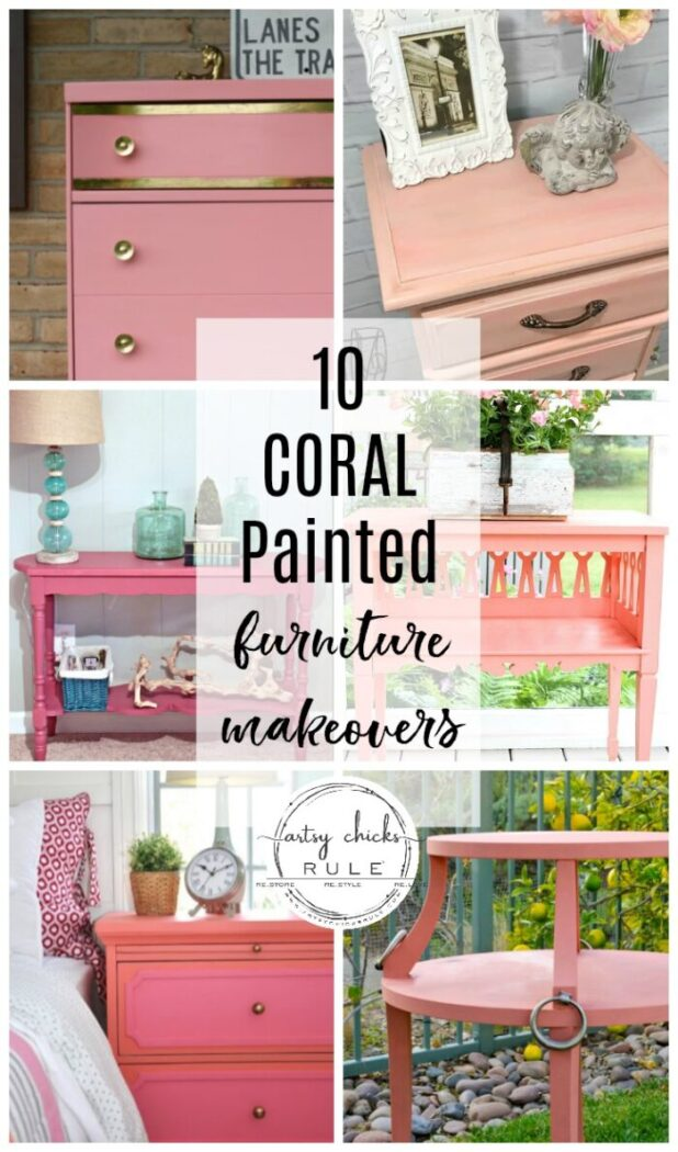 10 CORAL painted furniture makeovers to boost your creativity and bring inspiration for that piece waiting for a makeover! artsychicksrule.com #coralpaintedfurniture #coralcolor #coraldecor #coralfurniture #paintedfurniture