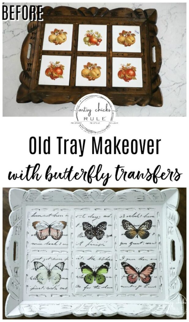 Butterfly transfers made transforming this butterfly tray makeover simple! (plus see how we found it in our brand new video!) artsychicksrule.com #butterflytray #butterflytransfers #primatransfers #butterflydecor