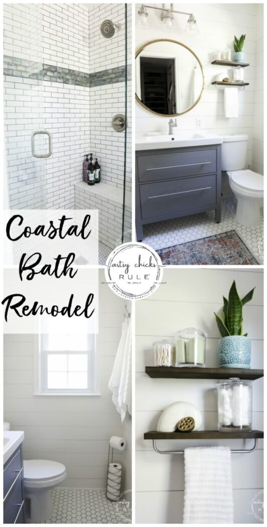 Sharing our coastal bathroom remodel makeover today! All the details, all the sources, (plus before and afters) for everything we used in this remodel. artsychicksrule.com #coastalbathroom #coastaldecor #coastalhome #coastalstyle #bathroomremodel