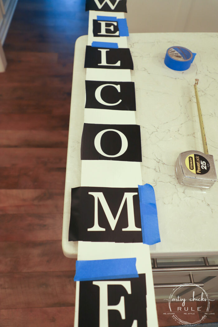 "Create your very own ""WELCOME porch sign"" out of scrap wood and simple letters! Download the free letter printables here! artsychicksrule.com #freeprintable #welcomeporchsign #welcomesign #silhouetteprojects"