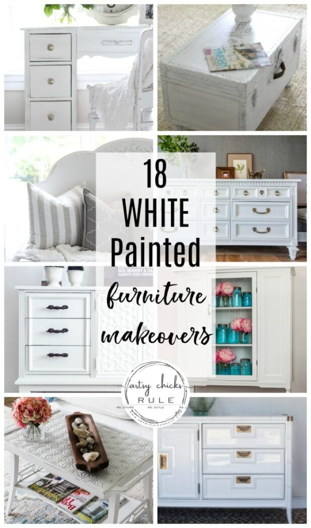 White is classic and timeless. Today I'm sharing 18 painted white furniture makeovers to inspire! artsychicksrule.com #whitepaintedfurniture #whitefurnitureideas #whitefurnituremakeovers