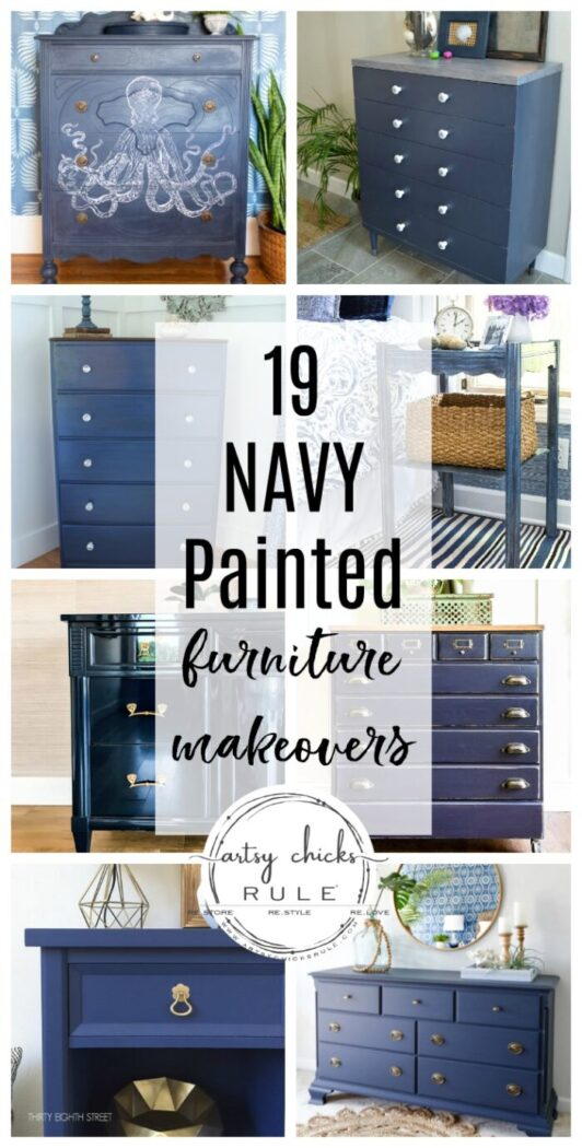 Tons of navy blue inspiration and ideas with these 19 navy painted furniture makeovers! artsychicksrule.com #navypaintedfurniture #navybluefurniture #navyfurnitureideas