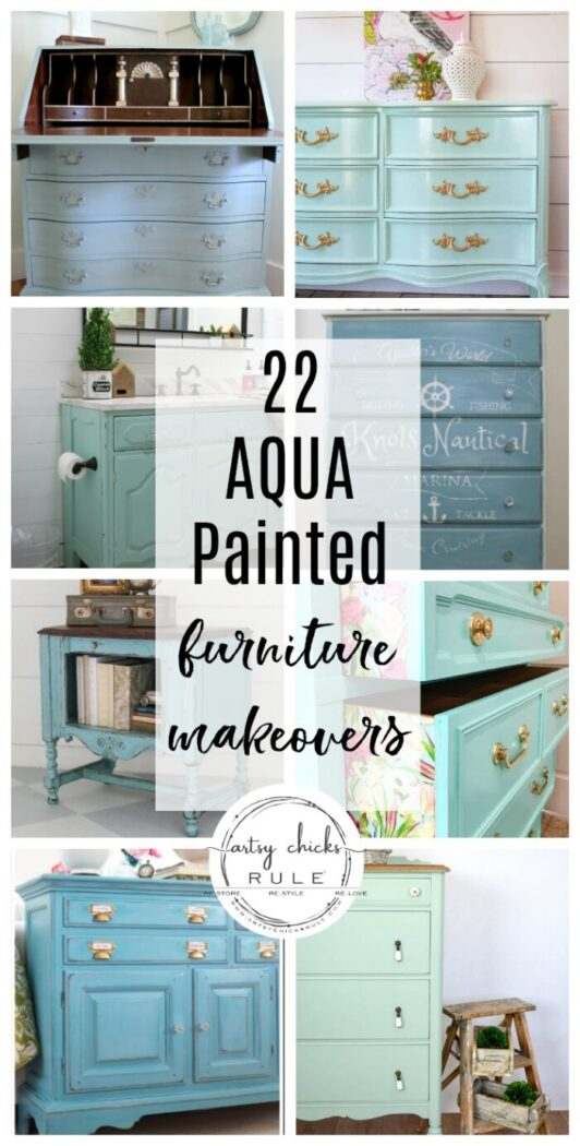 Aqua painted furniture makeovers...ideas and inspiration! artsychicksrule.com #aquafurniture #aquapaintedfurniture #aquafurnitureideas