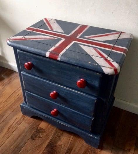 navy blue union jack nightstand