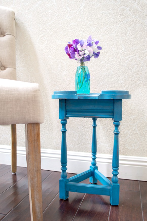 bold aqua side table
