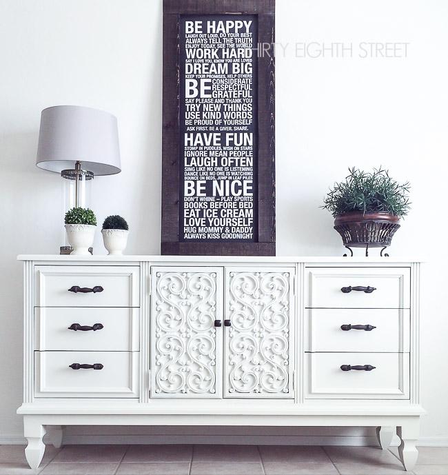 white 70's dresser