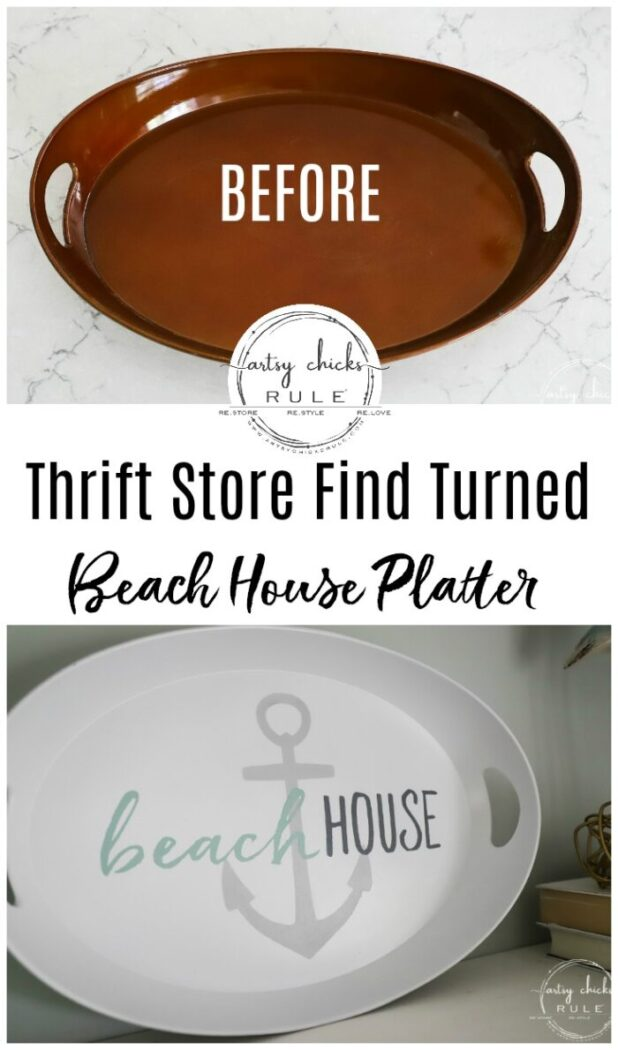 Cheapy thrift store find turned beach house platter...simple, fun, and budget-friendly way to decorate your home! artsychicksrule.com #beachhouseplatter #beachdecor #beachhouse #coastaldecor