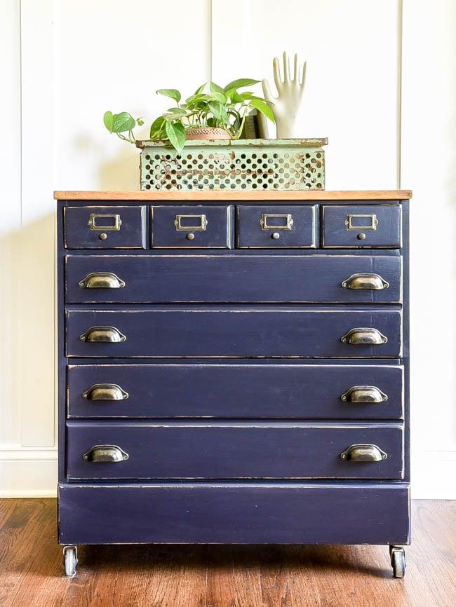 navy blue dresser tranformed