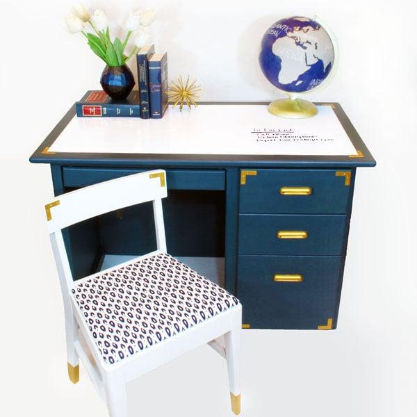navy blue desk