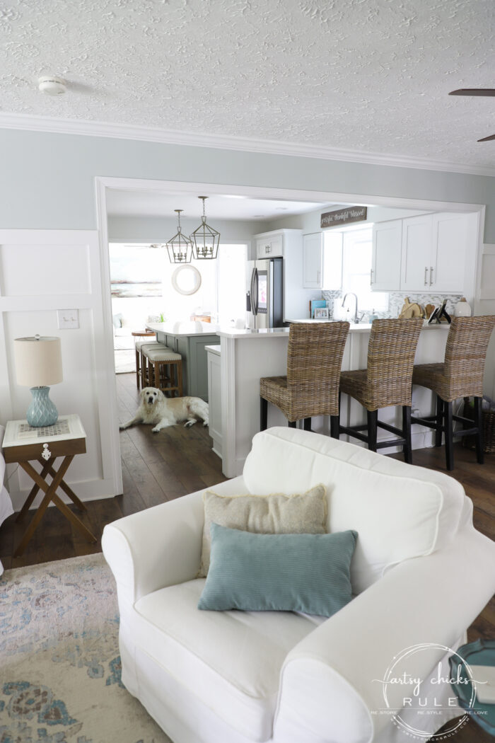 See this COASTAL living room go from dark and dreary to light and bright and airy! artsychicksrule.com #coastallivingroom #coastaldecor #coastalhome