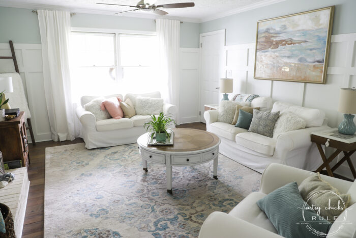 coastal living room with white sofas artsychicksrule.com