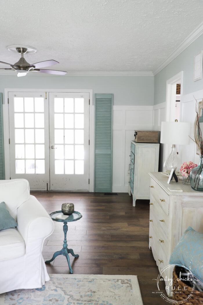 Duck Egg Blue Shutters in coastal living room artsychicksrule.com