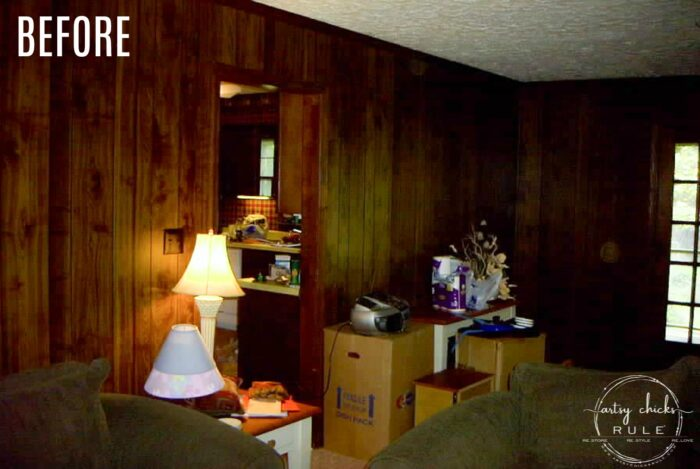 Brown paneled walls before of coastal living room artsychicksrule.com