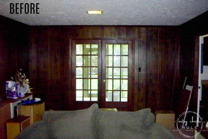 Dark paneled walls before of coastal living room artsychicksrule.com