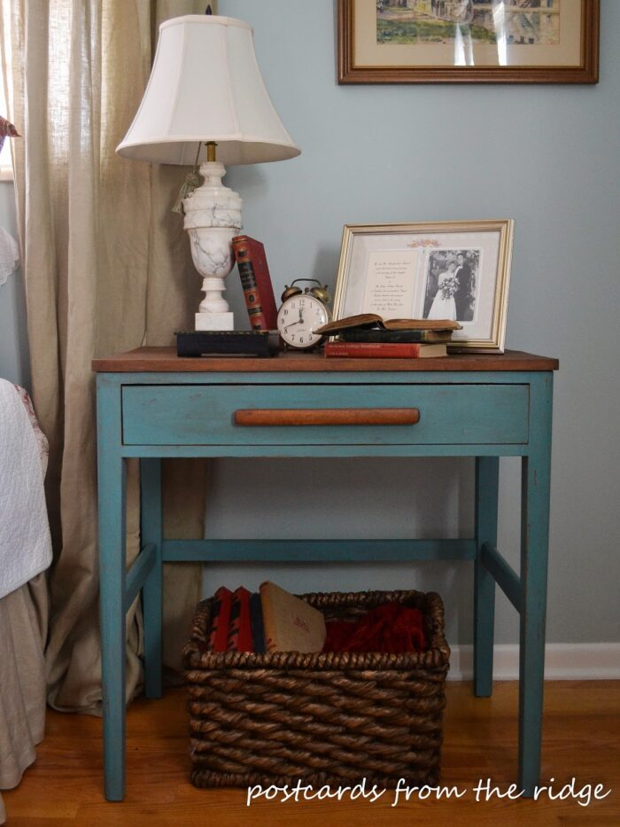 aqua and wood end table