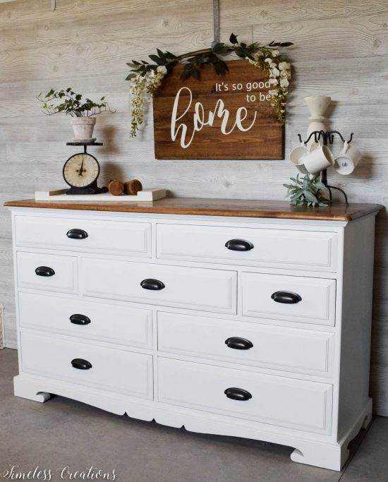 white dresser black pulls wood top