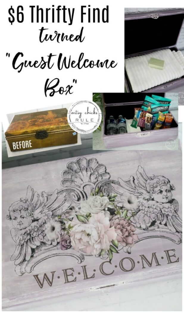 Why not create a guest room welcome box filled with goodies and/or necessities for overnight guests? Even better, pop into your local thrift store to find something inexpensive like this box to makeover! #guestwelcomeideas #guestroomideas #welcomebox #primatransferbox