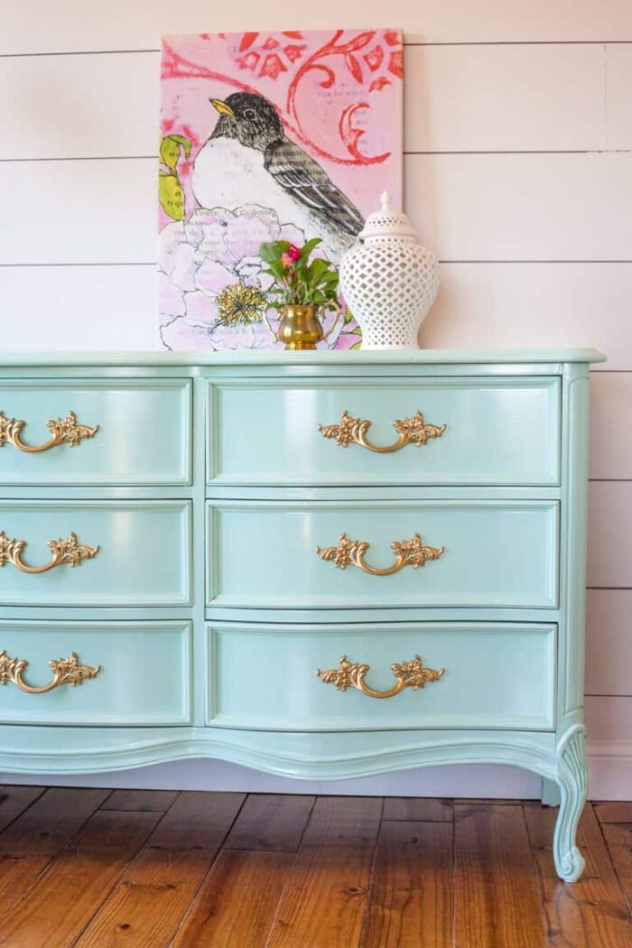 pale aqua and gold dresser