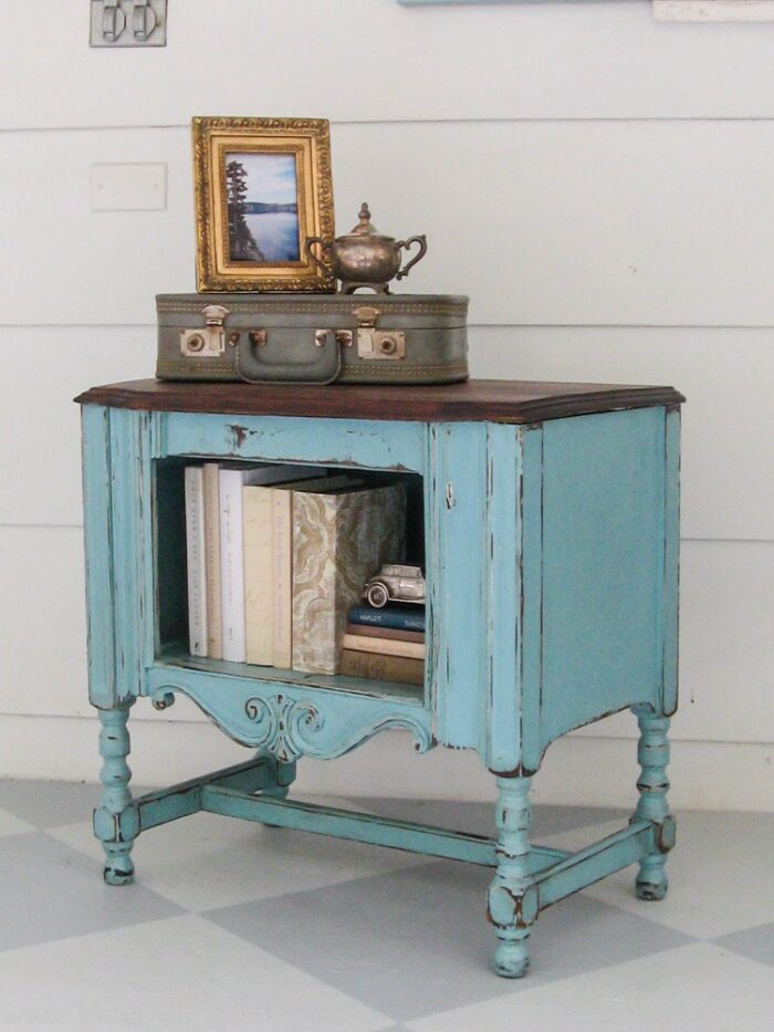 aqua and wood antique table