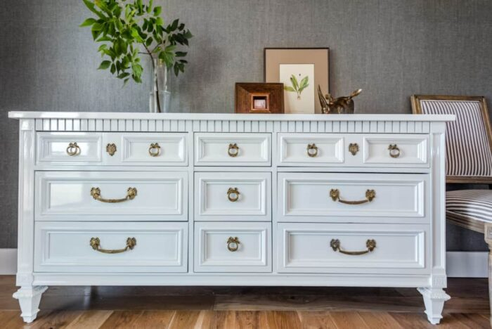 white painted dresser gold pulls