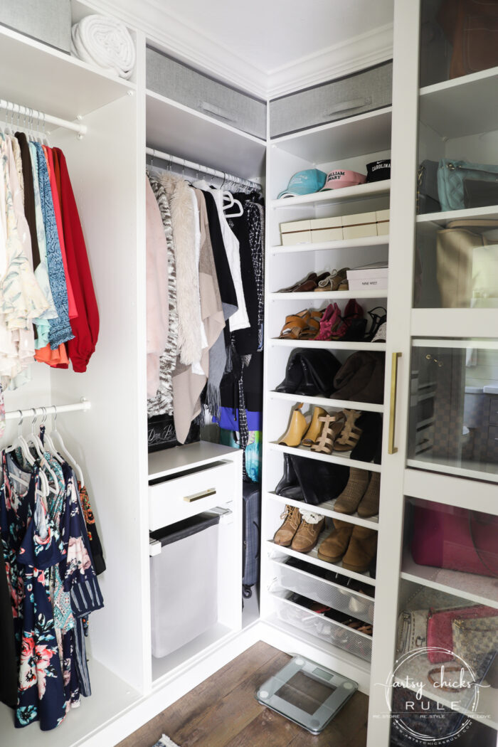 "We created a ""custom, built-in"" master closet look with basic IKEA PAX closet system cabinets simply by adding trim and a few extra touches! artsychicksrule.com #builtincloset #ikeapax #paxclosethack #ikeapaxideas"