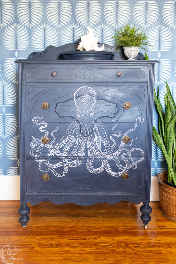 navy blue chest with octopus