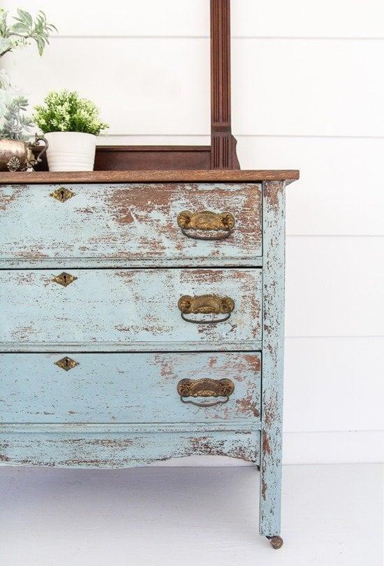 Rustic aqua chest of drawers