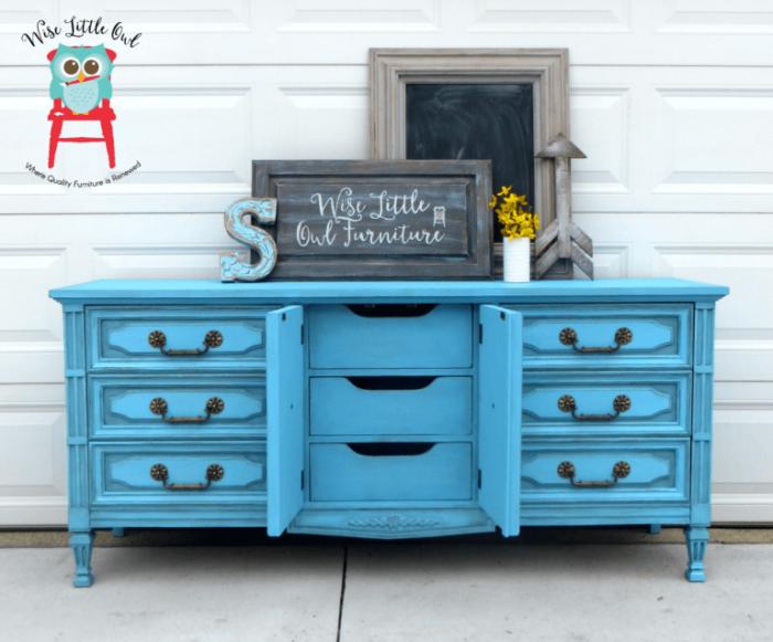 medium blue aqua chest of drawers