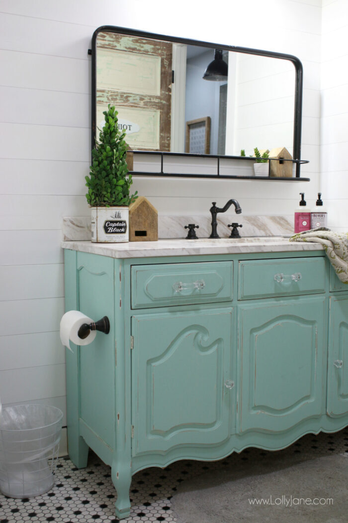 aqua dresser turned vanity