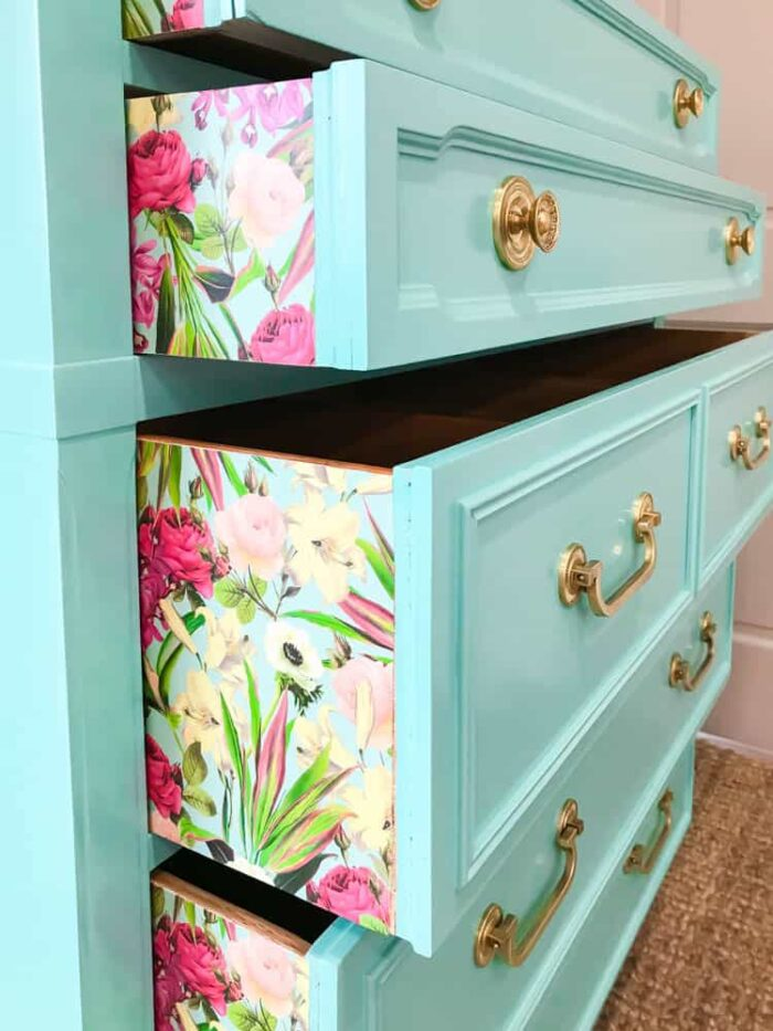 Aqua dresser with flowered drawers