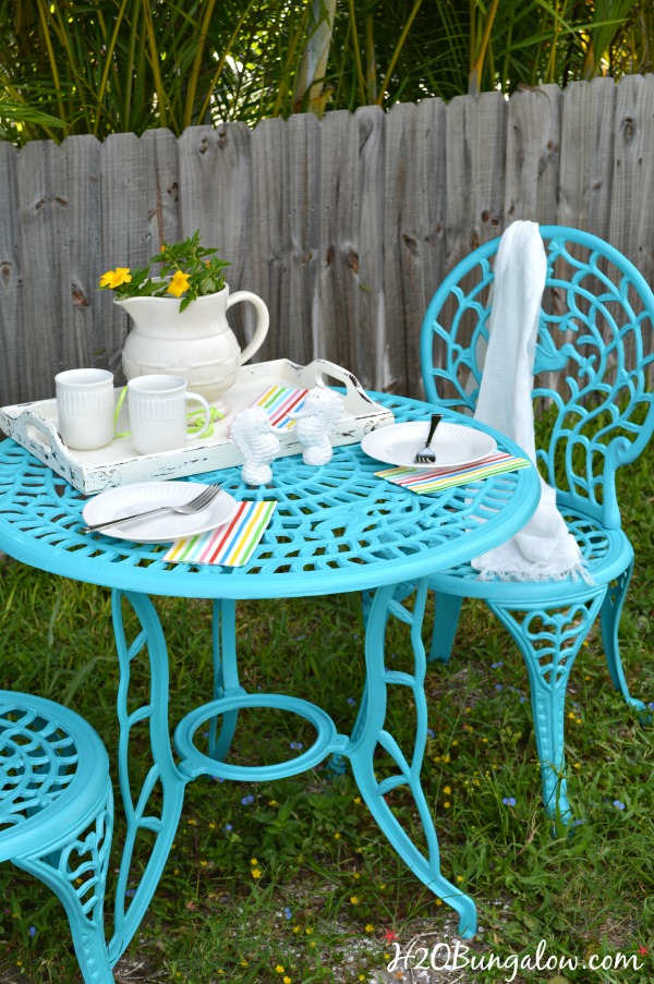 aqua metal outdoor set
