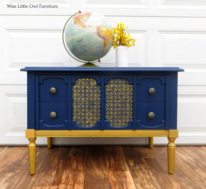 navy blue and gold console