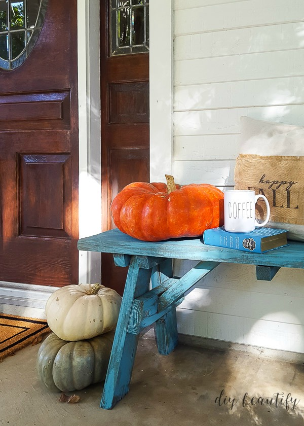 aqua bench with pumpkin
