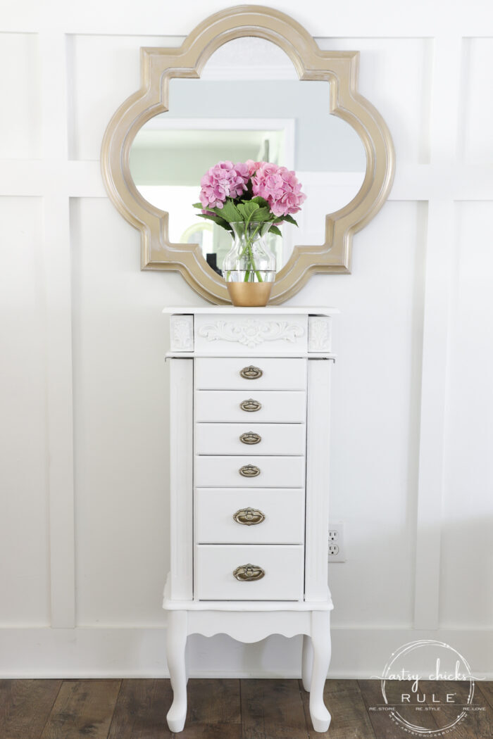 Outdated jewelry armoire makeover ... for the second time! Classy and elegant gold and white. Third times the charm! artsychicksrule.com #jewelryarmoire #whitefurniture #whiteandgold