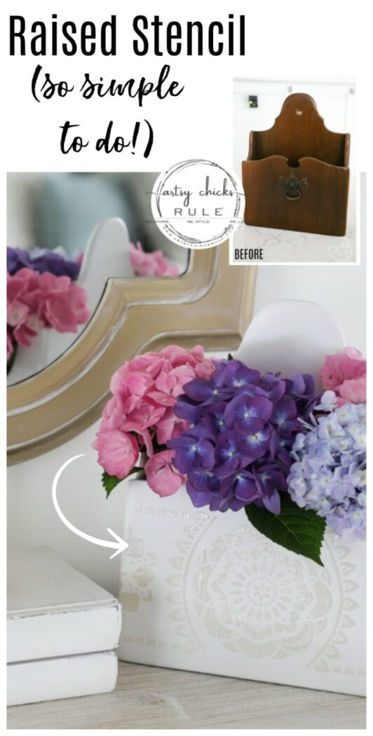 Spray paint, molding paste, and a stencil are all you need to create this sweet thrifted flower display!