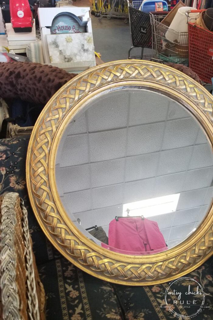 round mirror found at thrift store in the OBX