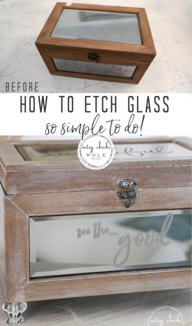 How to etch glass...so simple and quick to do! Glass etching really adds a personal touch to your projects! artsychicksrule.com #glassetching #howtoetchglass