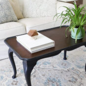 Navy Blue Coffee Table Makeover (with brown glaze)