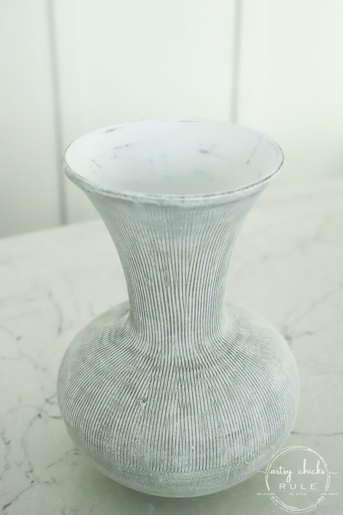A simple paint technique to give the look of high end painted ceramic vase for less! $6 thrift store find transformed! artsychicksrule.com #paintedvase #drybrush