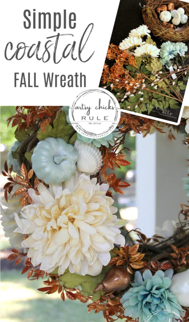 Want to ease into fall from summer? Or live on the coast? Make this SIMPLE coastal fall wreath which incorporates a little of both! artsychicksrule.com #coastalfallwreath