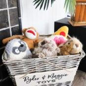 Dog Toy Basket ($4 thrift store makeover)