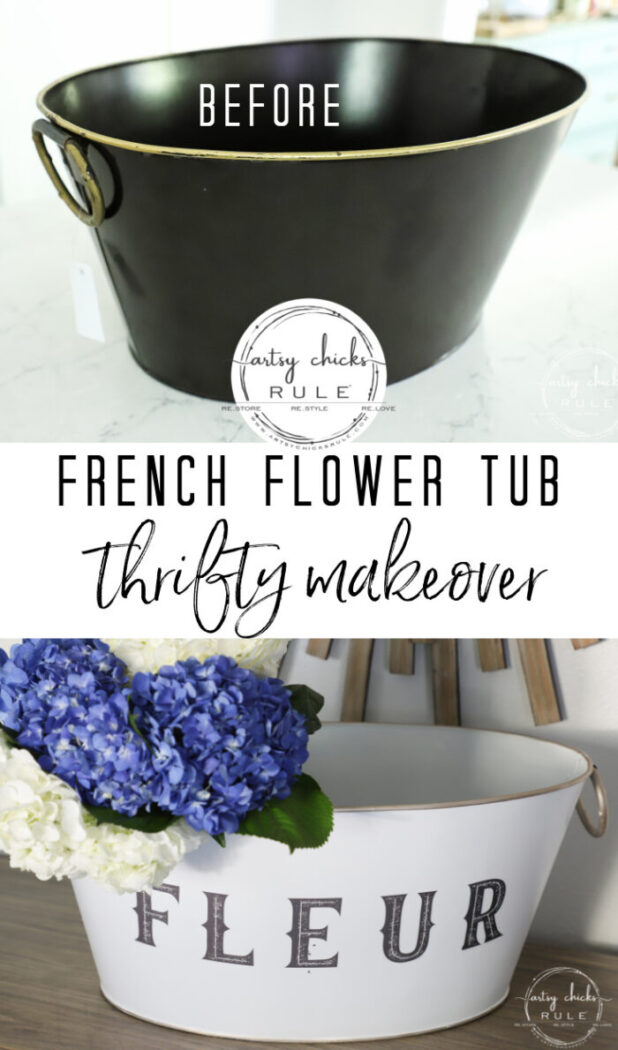 This old beverage tub got a brand new look...and purpose! French flower tub for beautiful flowers...easy to do with spray paint and Prima transfers! #artsychicksrule.com #primatransfers #flowertub