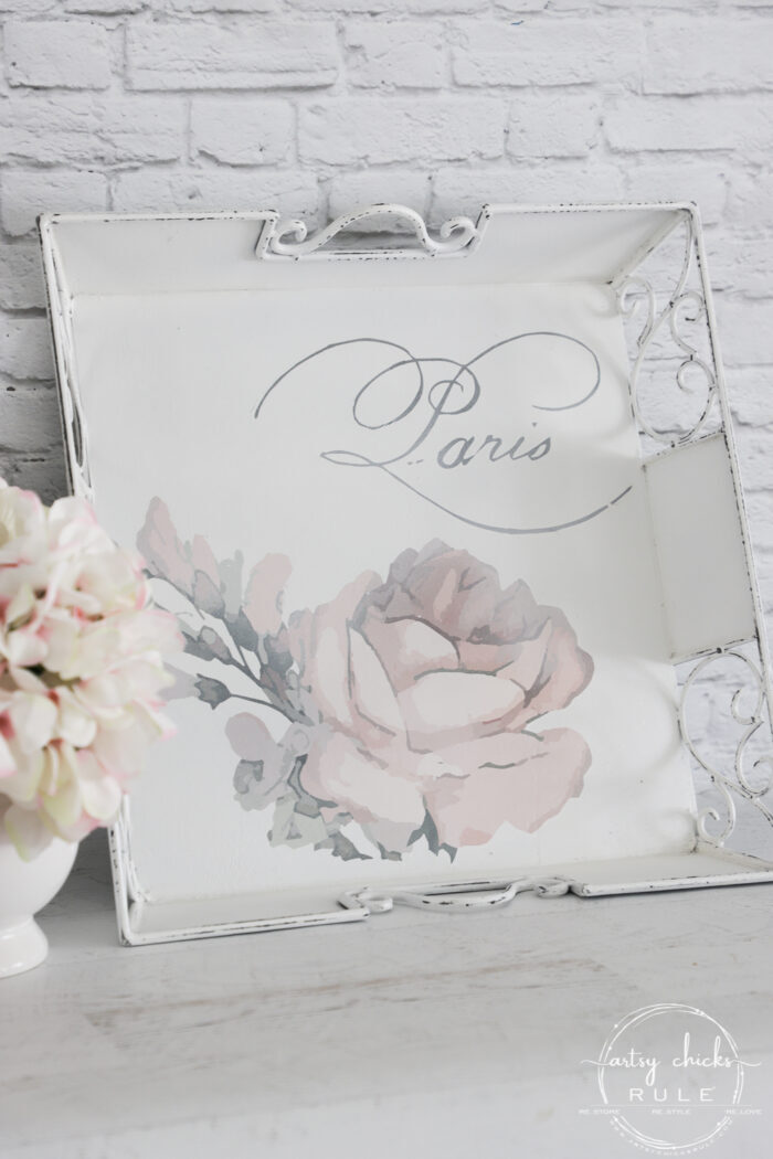 What a difference a little paint and a gorgeous Prima transfer make! This pink rose tray is a stunner now. artsychicksrule.com #primatransfer #pinkrose