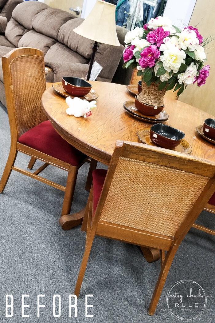 $65 Oak Table BEFORE artsychicksrule.com