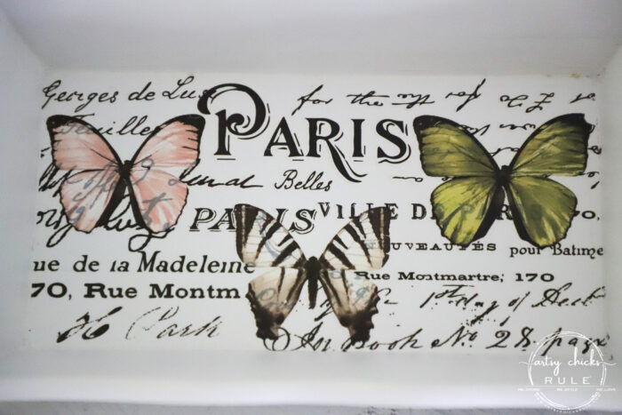 """Old thrifty find transformed into a """"butterfly box"""" with Prima transfers and old knobs for feet! artsychicksrule.com #butterflydecor #butterflybox"""