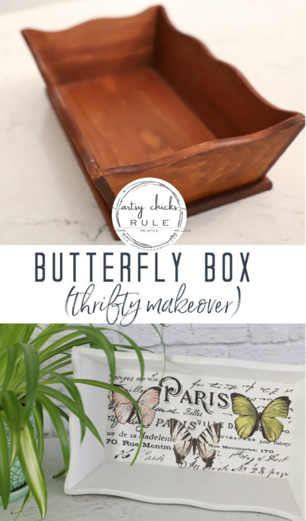 "Old thrifty find transformed into a ""butterfly box"" with Prima transfers and old knobs for feet! artsychicksrule.com #butterflydecor #butterflybox"