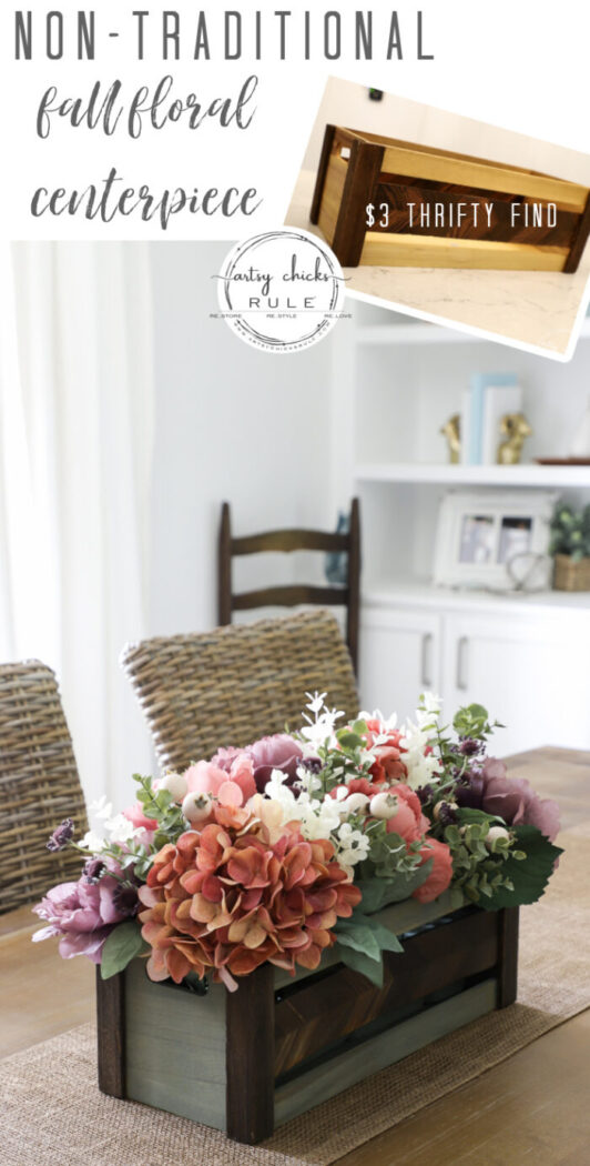 Using an old thrifty find, plus fall florals from the store, make this non tradtional fall floral centerpiece simply! artsychicksrule.com #fallfloralcenterpiece #fallflowers