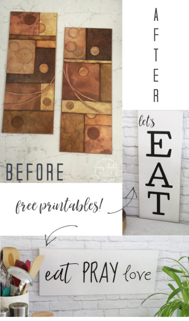 Make these simple kitchen signs out of old thrifted wall decor! Made easy with free graphics and a Silhouette Cameo! artsychicksrule.com #silhouettecameo #kitchensigns #eatpraylove