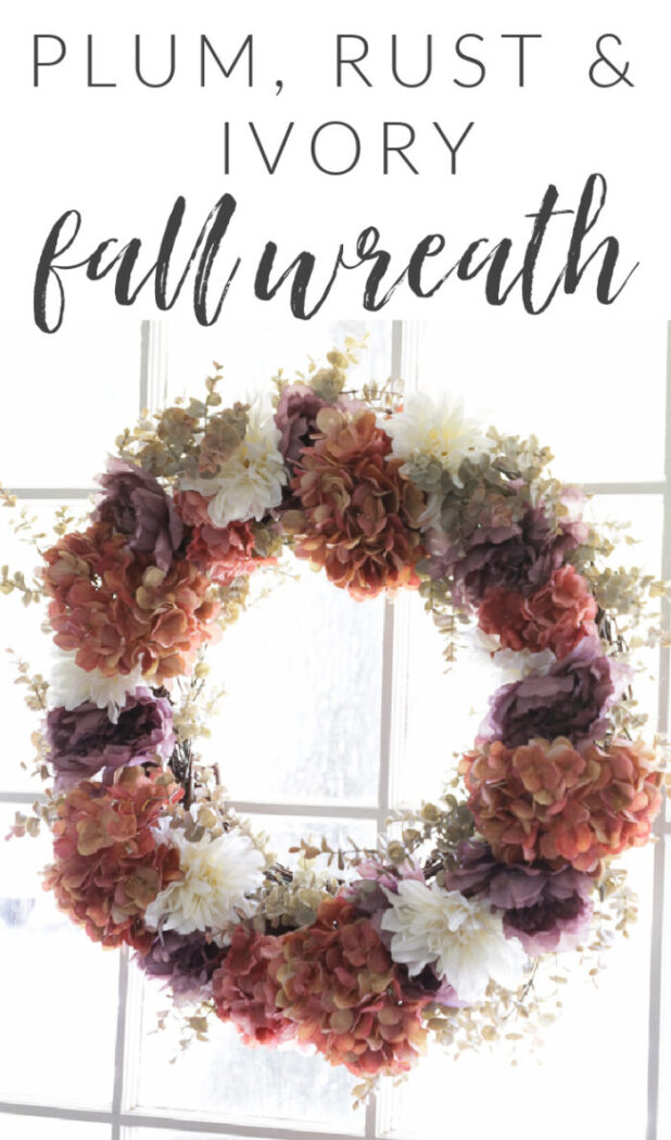 Rust, ivory & plum fall wreath. No need to stick to the traditional brown and orange...step out of the box a little with plum and ivory too. artsychicksrule.com #fallwreath #plumfallwreath